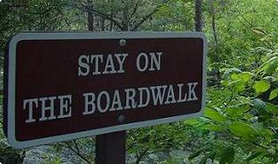 Sign on the boardwalk - Olmstead Island