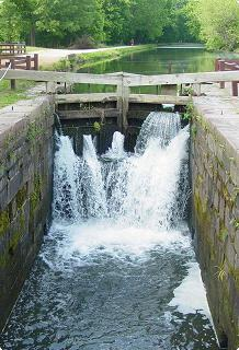 canal lock with waterfall