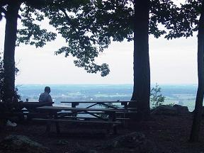 Man looking at view - eastward